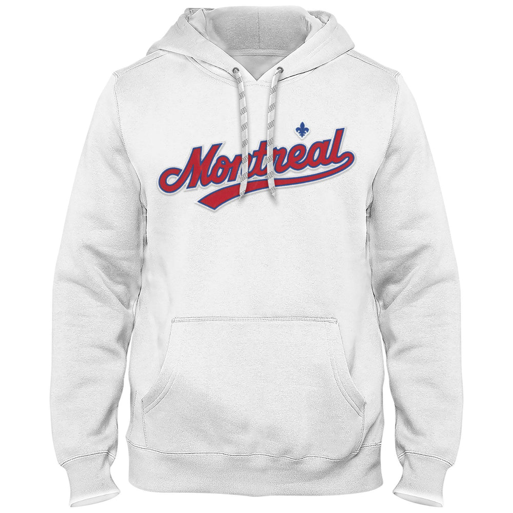 Montreal Expos Cooperstown MLB Express White Twill Road Logo Hoodie