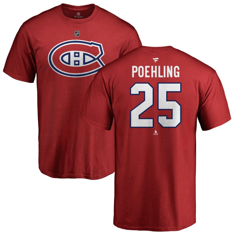 Ryan Poehling Montreal Canadiens Fanatics Red Authentic T Shirt