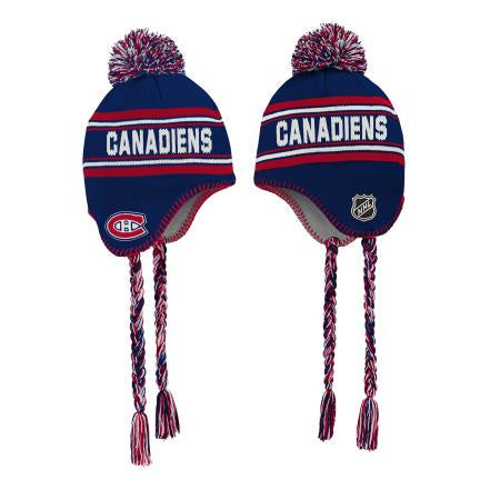 Montreal Canadiens Youth Blue Wordmark Jacquard Tassel Knit