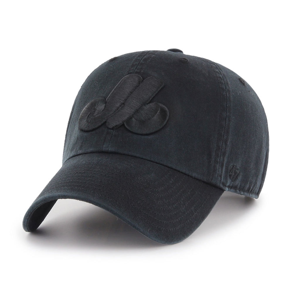 Montreal Expos '47 Black on Black Clean Up Adjustable Hat