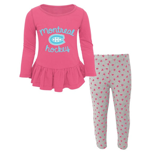 Montreal Canadiens Girls Pink Puck Drop Sweet Heart PJ Set