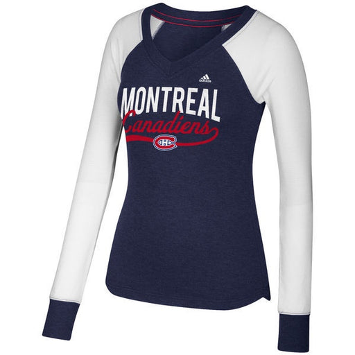 Montreal Canadiens Adidas Womens Navy Patch Long Sleeve V-Neck