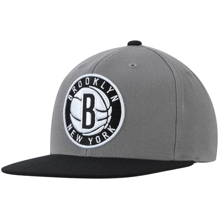 Brooklyn Nets Mitchell & Ness Black Wool Two Tone Adjustable Snapback