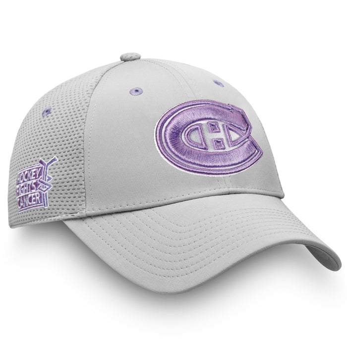 Montreal Canadiens Fanatics Grey Hockey Flights Cancer Adjustable Hat