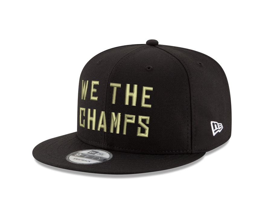 Toronto Raptors New Era 9Fifty Black Gold WTC Champions Hat Side Rectangle Patch Snapback