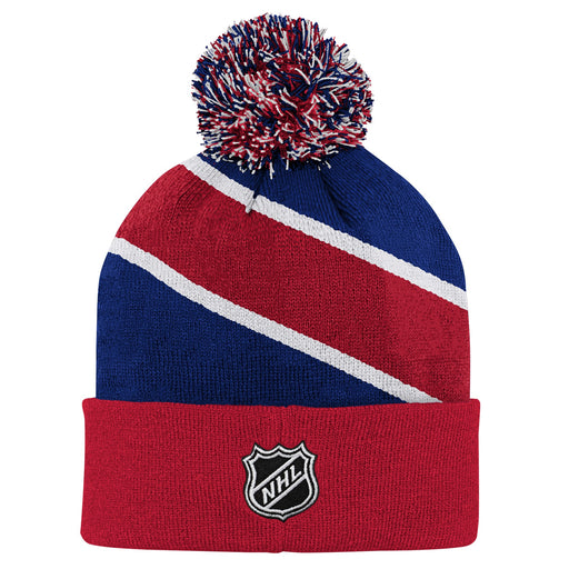 Montreal Canadiens Youth Special Edition Diagonal Stripe Cuff Pom Knit