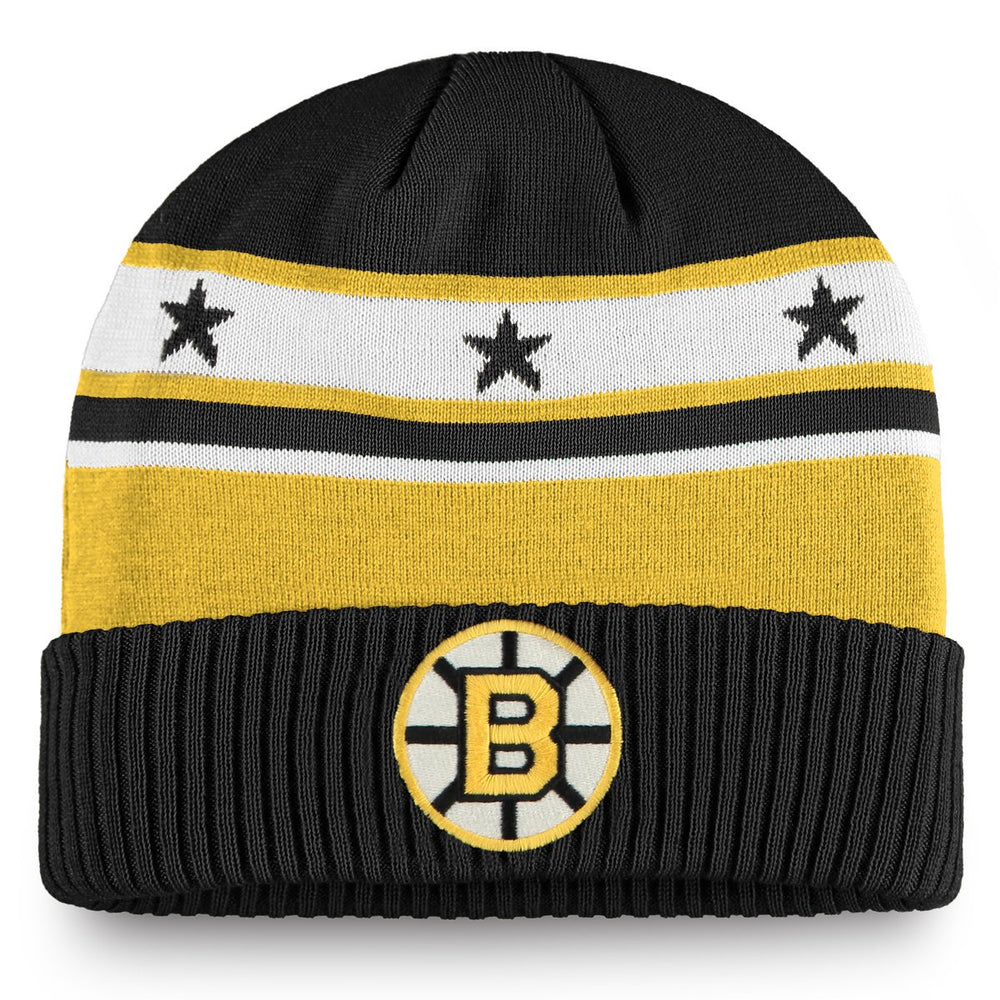 Boston Bruins Fanatics Black Original 6 Beanie Cuff Hat