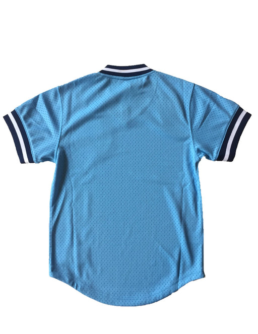 Toronto Blue Jays Mitchell & Ness Light Blue Mesh V Neck Shirt
