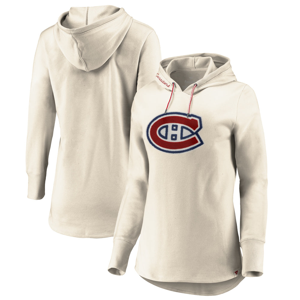 Montreal Canadiens Fanatics Branded Womens White Knit Pullover Hoodie