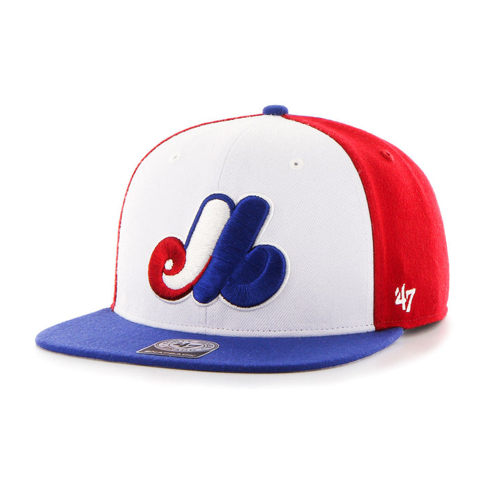 Montreal Expos Cooperstown Tri-Color Amble Snapback Cap