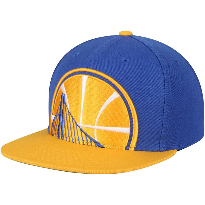 Golden State Warriors Mitchell & Ness Royal/Gold Cropped XL Logo Adjustable Snapback