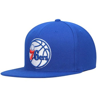 Philadelphia 76ers Mitchell & Ness Blue Team Ground Adjustable Snapback