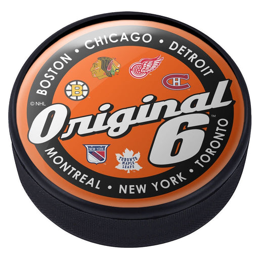 Original Six Domed Script Hockey Puck