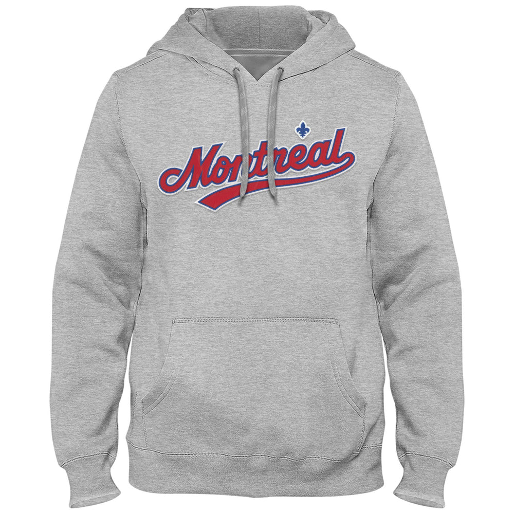 Montreal Expos Cooperstown MLB Express Athletic Grey Twill Road Logo Hoodie
