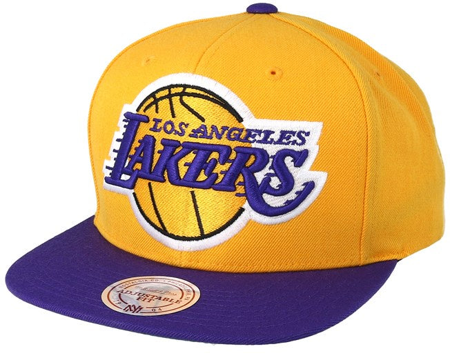 Los Angeles Lakers Mitchell & Ness Yellow XL Logo Two Tone Adjustable Snapback
