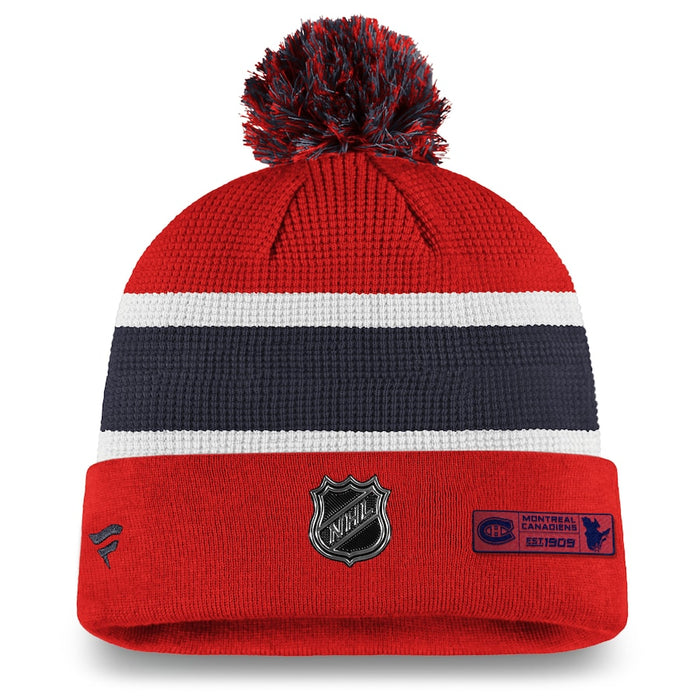 Montreal Canadiens Fanatics Draft 2020  Red Authentic Pro Cuffed Pom Knit Hat