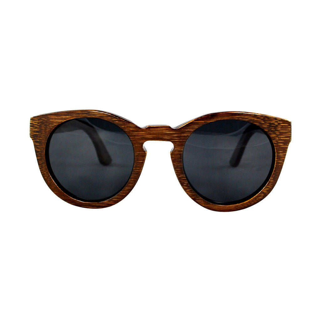 POLY Dark Bamboo Wooden Sunglasses (Black Lenses)