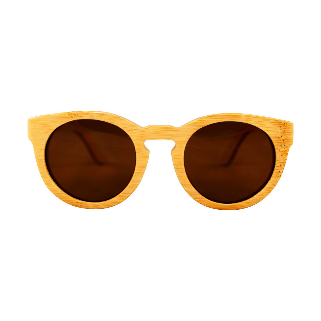 POLY Natural Bamboo Wooden Sunglasses (Brown Lenses)