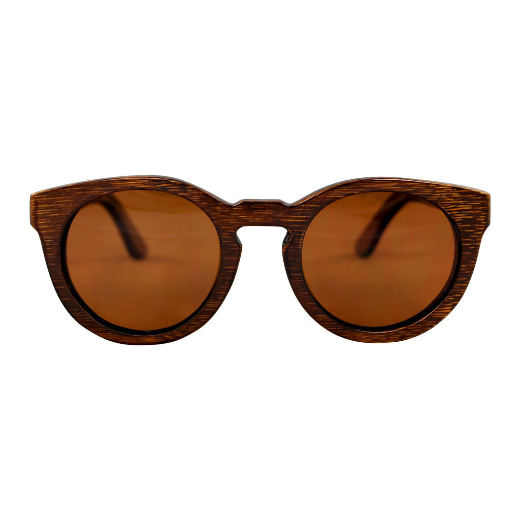 POLY Dark Bamboo Wooden Sunglasses (Brown Lenses)