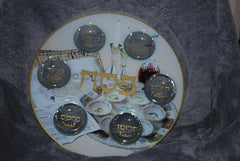Seder Plate with Seder scene, round glass