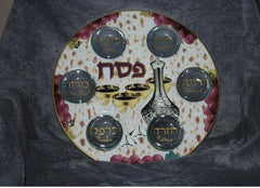 Seder Plate with Grape and Wine Design