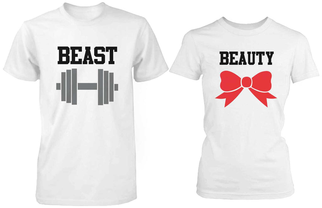 Beauty and the Beast Cute His and Her Matching White T-Shirts for Couples
