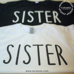 sister black and white matching tshirts