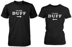 Funny Matching Black Cotton Couple T-Shirts I'm Her Duff, I'm His Duff