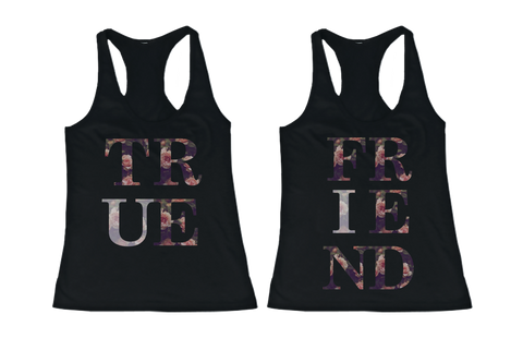 floral true friend bff tanks