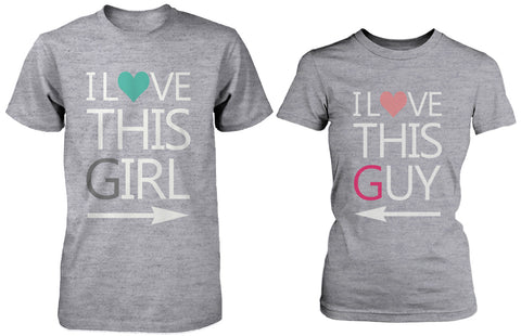 Matching Couple Shirts – I Love This Guy / Girl Grey Cotton Graphic T-shirts