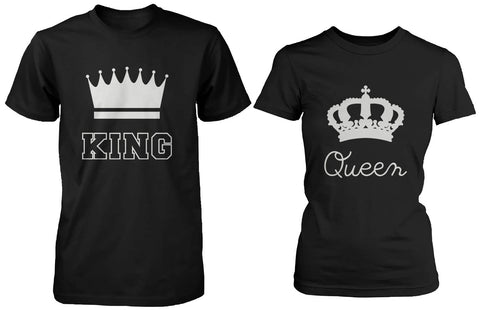 Cute Matching Couple Shirts King and Queen Black Cotton T-shirt Set