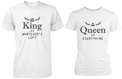 Matching Couple Shirts King and Queen of Everything White Cotton T-shirt Set