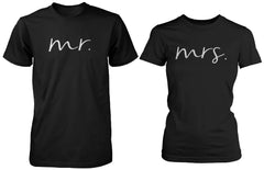Matching Couple Shirts Mr and Mrs Cursive Writing Black Cotton T-shirt Set