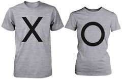 X O Couple Shirts His and Hers Tee Set XO T-shirts Short Sleeve Heather Grey