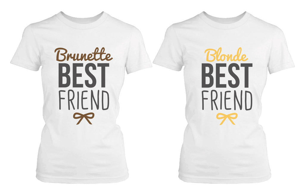 Best Friend Shirts Blonde and Brunette Best Friends Matching BFF White Shirts