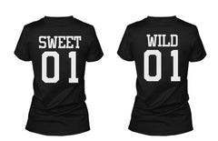 Sweet 01 Wild 01 Matching Best Friends T-Shirts BFF Tees For Two Girls Friends