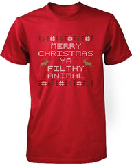 Merry Christmas Ya Filthy Animal Red Short Sleeve X-mas T-Shirt