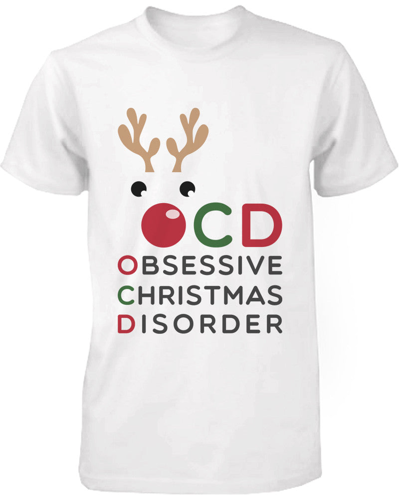 Funny X-mas Graphic Tee Obsessive Christmas Disorder White Cotton T-shirt