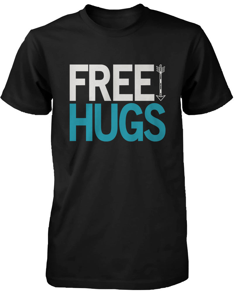 Men's Holiday Graphic Tees Free Hugs Black Cotton T-shirt