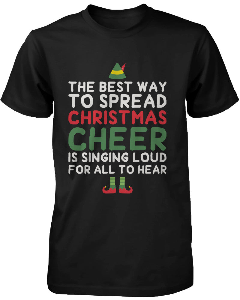 Men's Black Cotton T-Shirt Best Way to Spread Christmas Cheer Graphic Tee