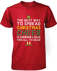 Men's Red Cotton T-Shirt Best Way to Spread Christmas Cheer Graphic Tee