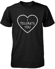 I Tolerate You Women's Cute Graphic Shirt Black Short Sleeve Tee Trendy Tshirt