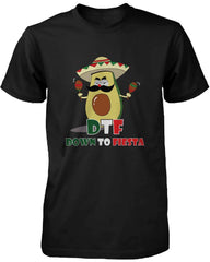 Men's Funny Black Graphic Bold Statement T-Shirt Avocado Down To Fiesta