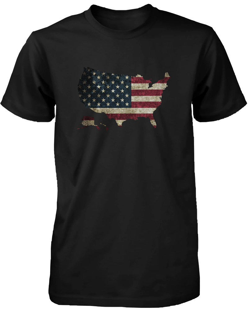 Men's Graphic Black T-Shirt US Flag Map