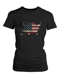 Women's Graphic Black T-Shirt US Flag Map