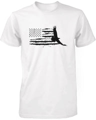 Men's Graphic White T-Shirt US Map With an Eagle