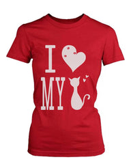 Graphic Statement Women's Red T-Shirt I Love My Cat
