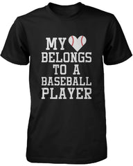 Women's Funny Statement Black T-Shirt My Heart Belong to A Baseball Player