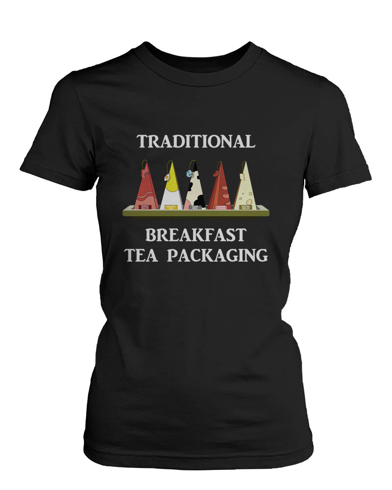 Traditional Breakfast Tea Packaging Humor T-Shirt Funny Graphic Tee for Women
