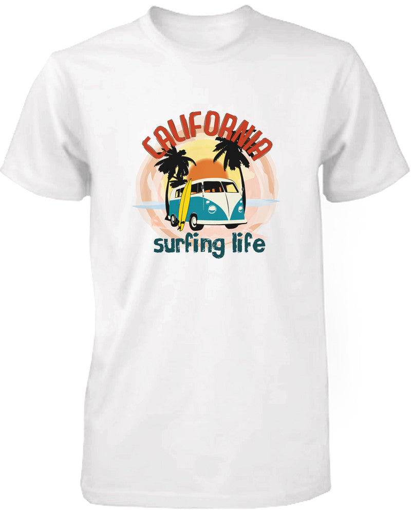 California Surfing Life Graphic Men's T-shirt Sunset Palm Tree Mini Van Tee